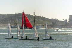 Lisbon Volvo Race. Team MAPFRE during the start of the second stage Lisbon - Cape Town of the Volvo Ocean Race 2017-18 Royalty Free Stock Photos