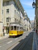 lisbon w centrum kolor żółty stary tramwajowy Obrazy Royalty Free