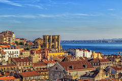 Lisbon widok z katedrą Sé de Lisboa Zdjęcia Stock