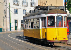 Lisbon yellow tram Royalty Free Stock Photo