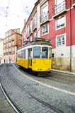 Lisbon yellow tram Royalty Free Stock Images