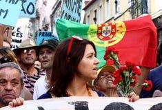 lisbon zajmuje protestacyjnego s Fotografia Royalty Free