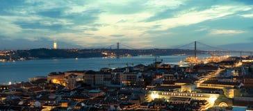 Lisbona alla sera Fotografia Stock Libera da Diritti
