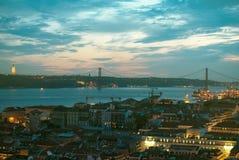 Lisbona alla sera Fotografie Stock