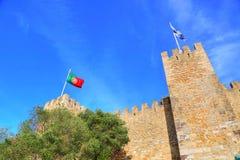 Lisbona, allerta di George Castle Sao Jorge del san Immagini Stock