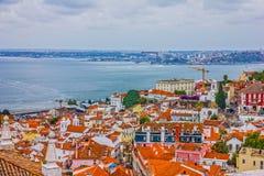 Lisbona alloggia la vista panoramica, Portogallo Fotografie Stock Libere da Diritti
