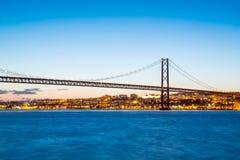 Lisbona April Bridge Portugal Fotografia Stock