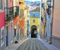 Lisbona Bica funicolare Immagini Stock