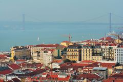 Lisbona da sopra fotografia stock