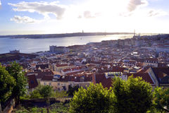 Lisbona da una collina Fotografia Stock