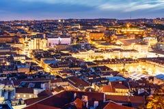 Lisbona entro la notte Fotografia Stock