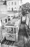 Lisbona funicolare su Calcada fa la via di Lavra Fotografie Stock Libere da Diritti