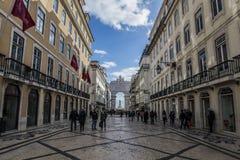 Lisbona Praça fa Comércio Immagine Stock