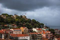 Lisbona, vista di Castel Fotografia Stock Libera da Diritti