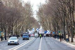 LISBONNE - 26 JANVIER : Plus de 40 000 professeurs ont participé à p Images libres de droits
