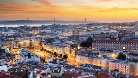 Lisbonne au coucher du soleil image libre de droits