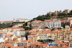 Lisbonne et château de sao Jorge, Portugal Images libres de droits