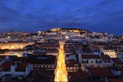Lisbonne pendant la nuit Photographie stock