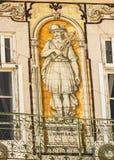Lisbonne, Portugal : bâtiment avec les tuiles portugaises représentant le commerce Photo stock