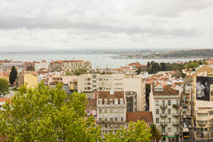 Lisbonne, Portugal : l'estuaire du Tage et des deux banques Image libre de droits