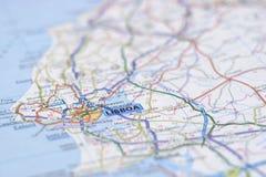 Lisbonne sur la carte Photographie stock libre de droits