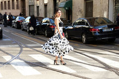 Lise grendene Streetstyle milano,milan fashion week autumn winter 2015 2016 Royalty Free Stock Photography