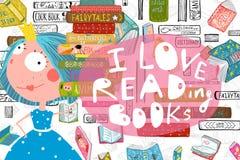 Lisez et étudiez la conception avec petite princesse Girl Illustration Stock