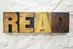 Lisez l'impression typographique Photo libre de droits