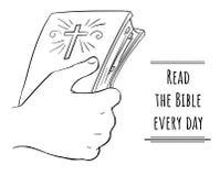 Lisez la bible chaque jour - bible à disposition illustration stock