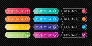 Lisez la suite à bouton de Web le style plat de vecteur d'ensemble de gradient de couleur de calibre de conception illustration de vecteur