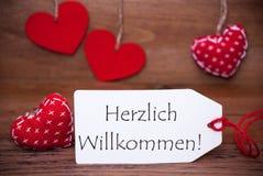 Lisez les coeurs, label, accueil de moyens de Herzlich Willkommen Photographie stock