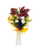 Lisianthus and autumn leaves Royalty Free Stock Photos