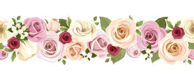 与五颜六色的玫瑰和lisianthus的水平的无缝的背景开花 也corel凹道例证向量 免版税库存照片