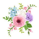 Lisianthus, freesia and forget-me-not flowers bouquet. Vector illustration. Vector bouquet of pink, purple, blue and white lisianthuses, freesia and forget-me vector illustration