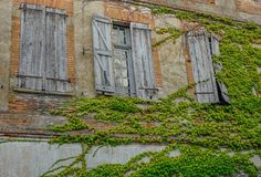 Old brick facade. Lisle sur Tarn, Midi Pyrenees, France - July 21, 2017: Old brick facade with three windows and green vine royalty free stock photography