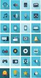 Liso - ícones dos multimédios para o smartphone Fotos de Stock Royalty Free
