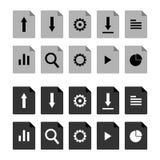 Liso, grupo do ícone do arquivo Versão cinzenta e preta Dez ícones diferentes ilustração stock
