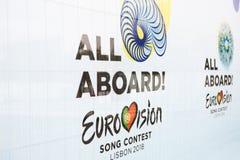 Lissabon, 24 April, 2018: Foto van het beeld met officiële Eurovisie-het Liedwedstrijd 2018 Lissabon van symboleneurovisie A Stock Foto's