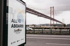 Lissabon, 24 April, 2018: Foto van het beeld met officiële Eurovisie-het Liedwedstrijd 2018 Lissabon van symboleneurovisie A Stock Foto