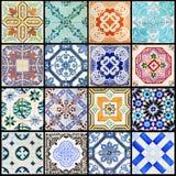 Lissabon belägger med tegel collagesvart fotografering för bildbyråer