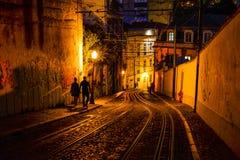 Lissabon bij nacht - Lissabon, Portugal Royalty-vrije Stock Foto