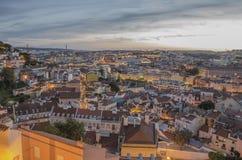 Lissabon bij schemer Stock Fotografie