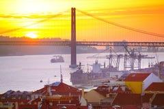 Lissabon bij zonsondergang, Portugal Royalty-vrije Stock Afbeelding