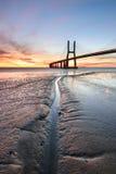 Lissabon bij Zonsopgang, rode kleuren licht landschap Stock Foto's
