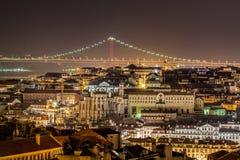 Lissabon bis zum Nacht Stockbilder