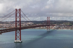 Lissabon-Brücke am 25. April Lizenzfreie Stockfotografie