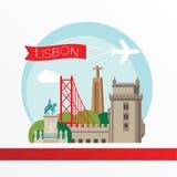 Lissabon, gedetailleerd silhouet In vectorillustratie, vlakke stijl Modieuze kleurrijke oriëntatiepunten Royalty-vrije Stock Foto
