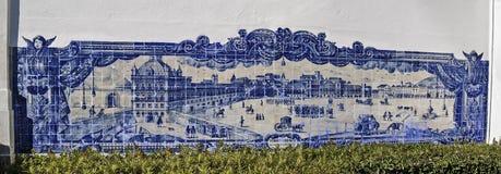 Lissabon glasade tegelplattan Fotografering för Bildbyråer