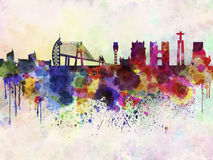 Lissabon horisont i vattenfärgbakgrund Arkivfoton