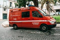 Lissabon, am 18. Juni 2018: Ein Krankenwagen auf der Stadtstraße Nothilfe Ambulanzdienste 112 Stockfoto